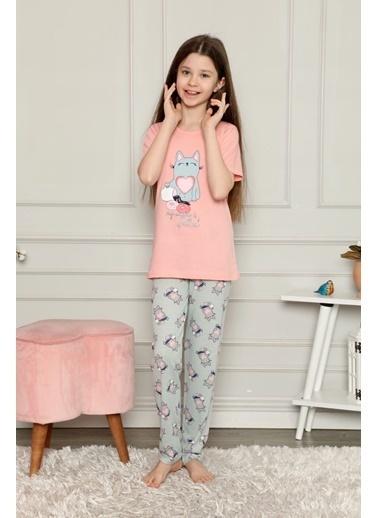 Pemilo Kız Çocuk 2251  Desenli Kısa Kol Pijama Takımı TURUNCU Oranj